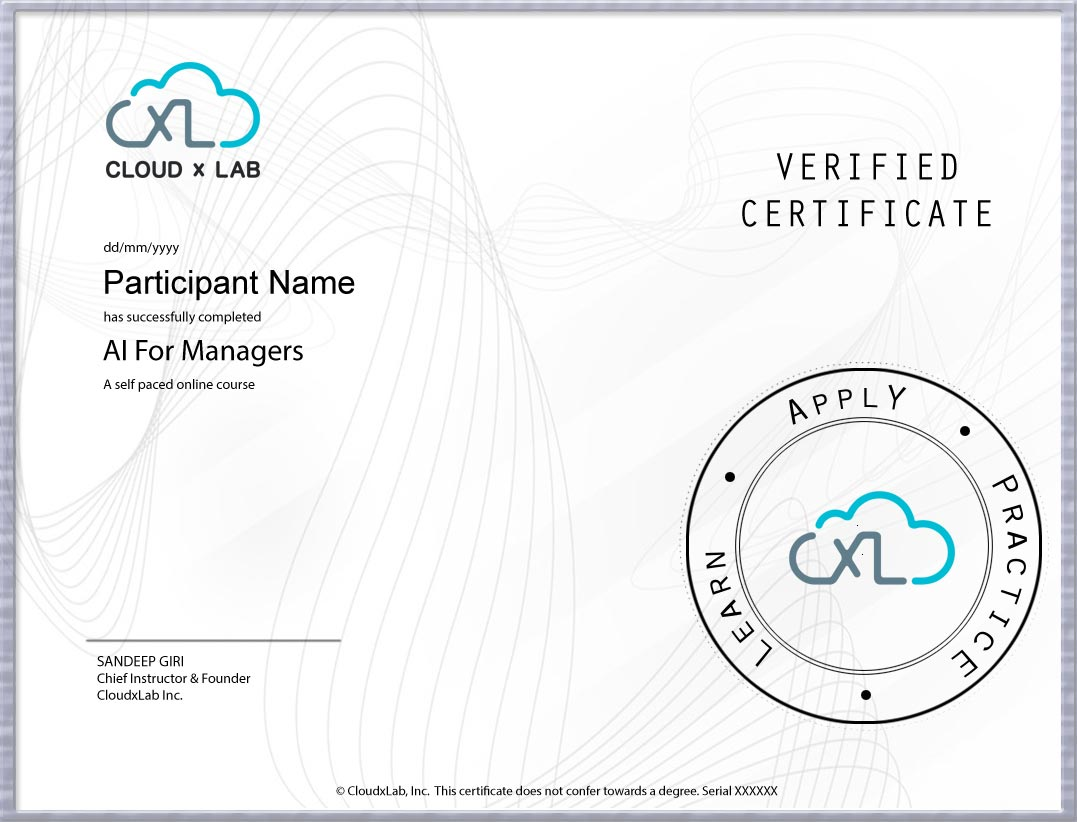 AI for Managers CloudxLab Certificate