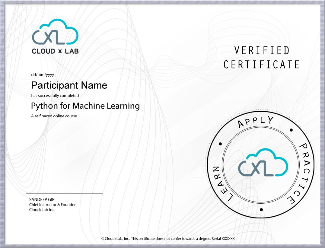 Python for ML CloudxLab Certificate