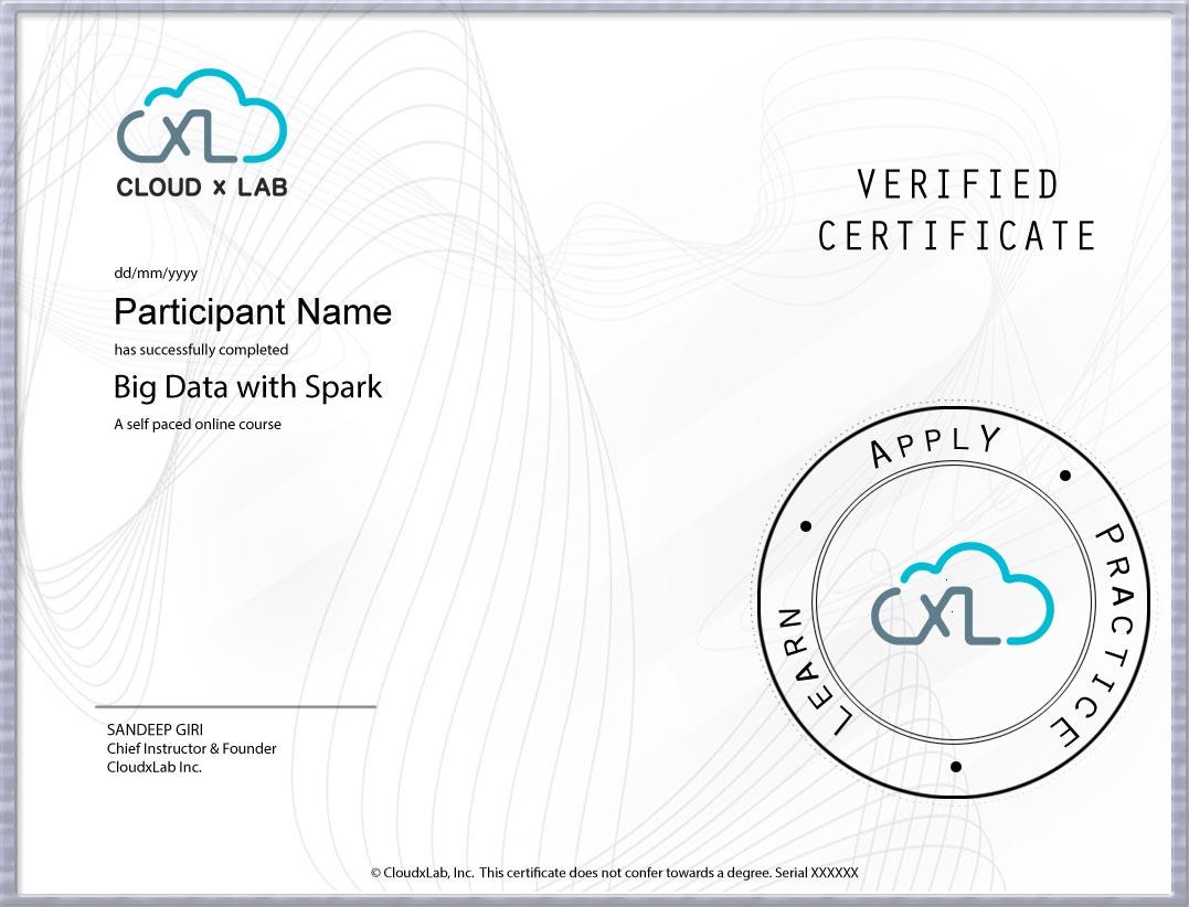 BDS CloudxLab Certificate