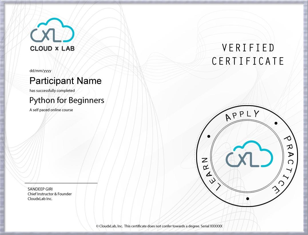 Python CloudxLab Certificate