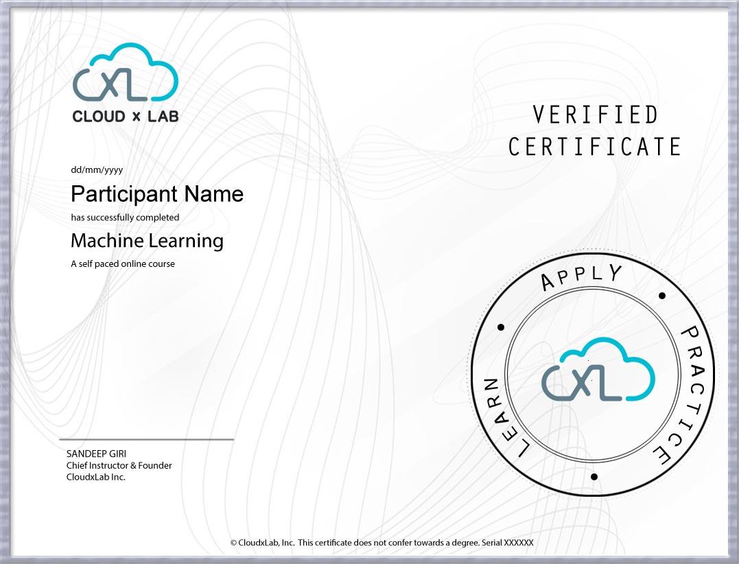 ML CloudxLab Certificate