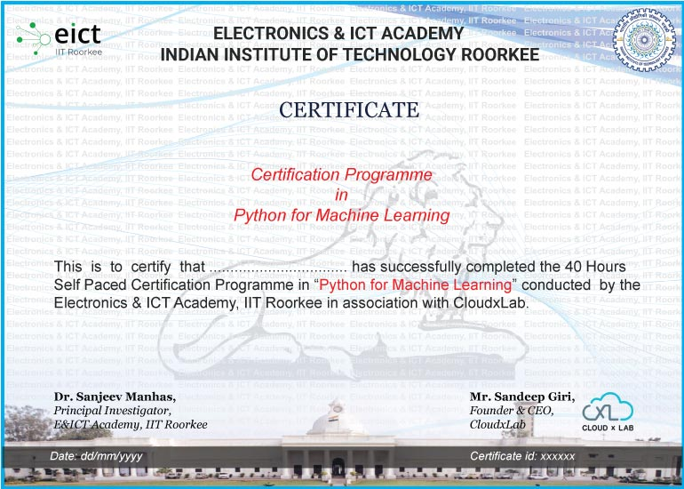 PML EICT Certificate